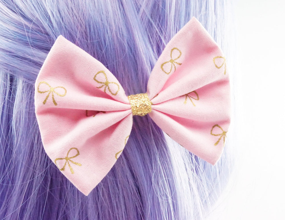 Pink and Metallic Gold Bow Print Medium Fabric Hair Bow