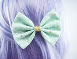 Pastel Mint and Metallic Gold Triangle Geometric Print Medium Fabric Hair Bow