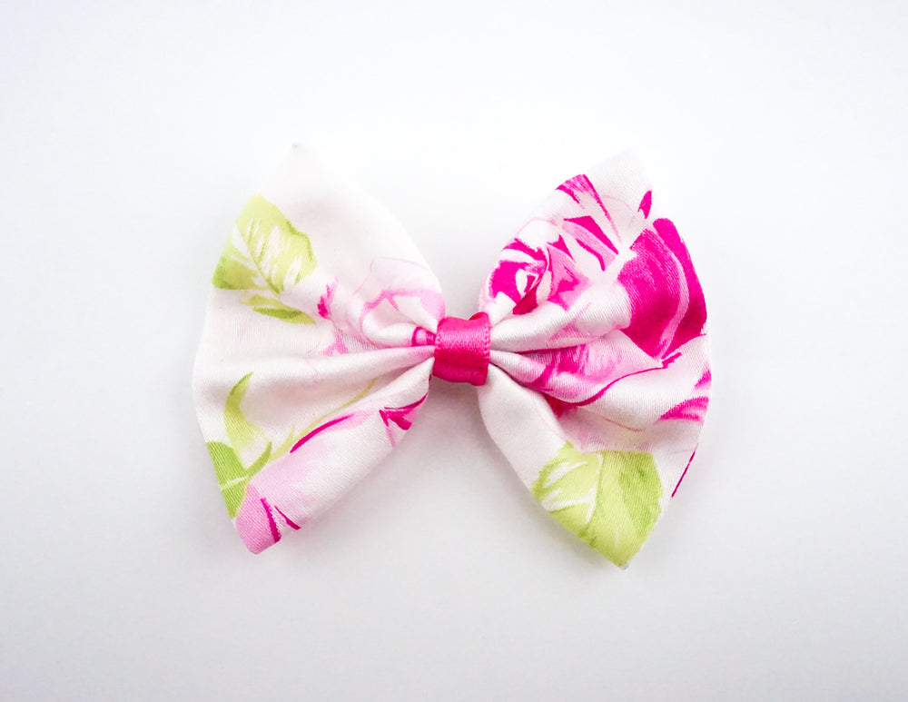 White with Hot Pink Rose Print Medium Hair Bow - Floral Hair Clip