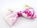White with Hot Pink Rose Print Large Hair Bow - Floral Hair Clip
