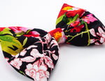 Black with Red and Hot Pink Oriental Floral Print Large Hair Bow - Floral Hair Clip