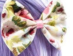Vintage Floral Print on Beige Medium Fabric Hair Bow