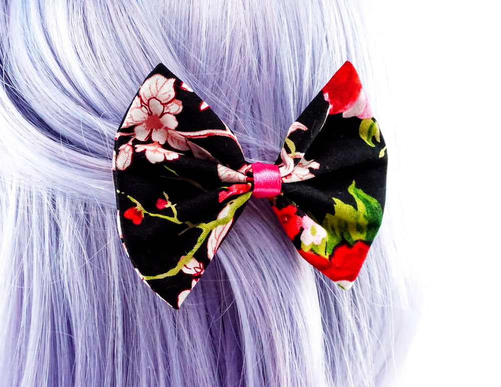 Black with Red and Hot Pink Oriental Floral Print Medium Hair Bow - Floral Hair Clip