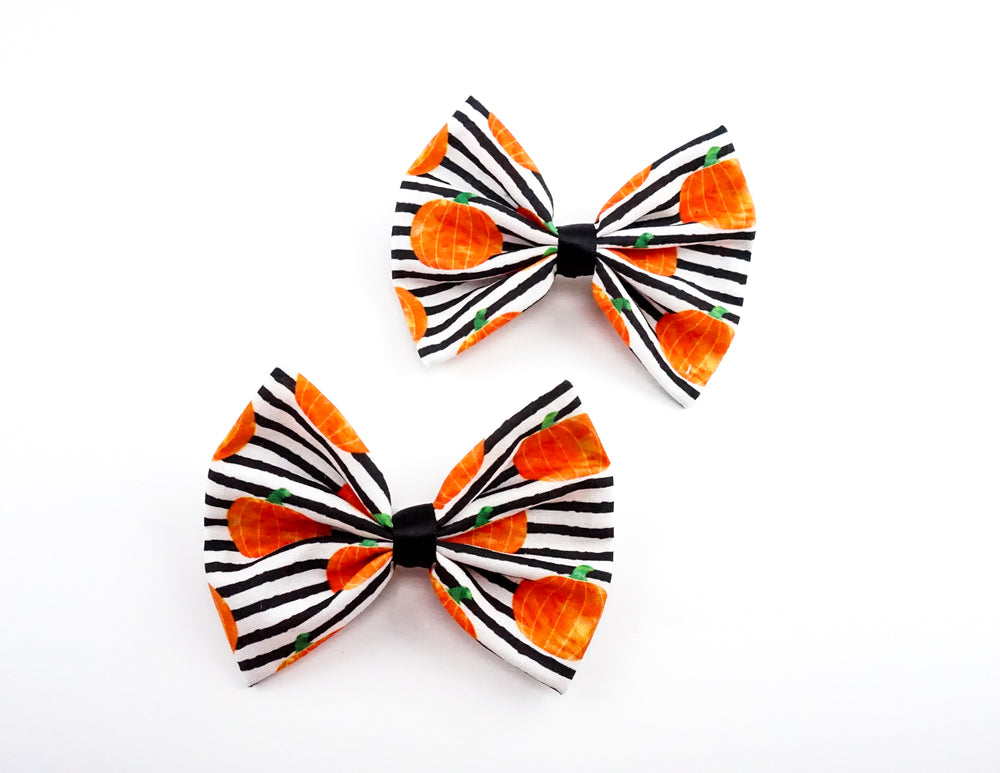 Black & White Stripe with Pumpkin Print Medium Fabric Hair Bow - Halloween Bow