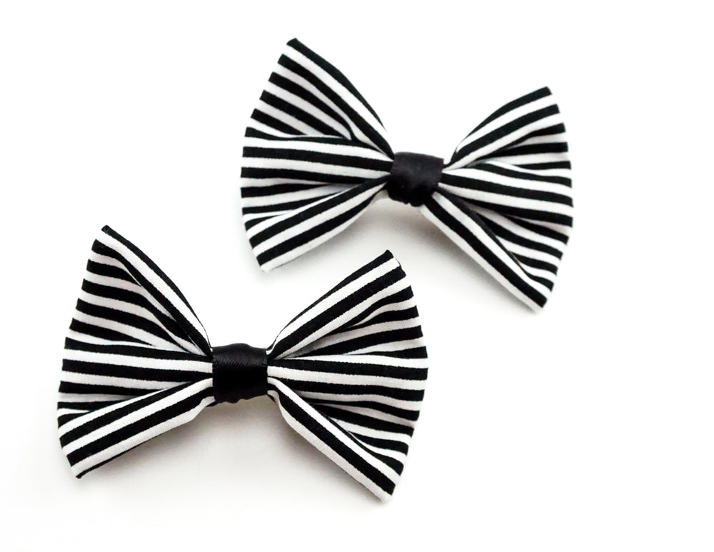 Black and White Skinny Stripe Print Small Fabric Hair Bow - Beetlejuice Hair Accessory
