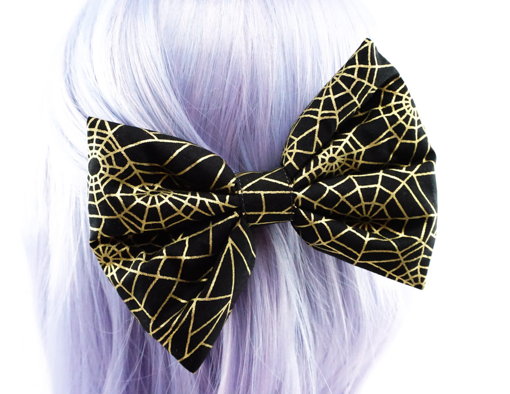 Black with Metallic Gold Spider Web Print LARGE Fabric Hair Bow - Halloween