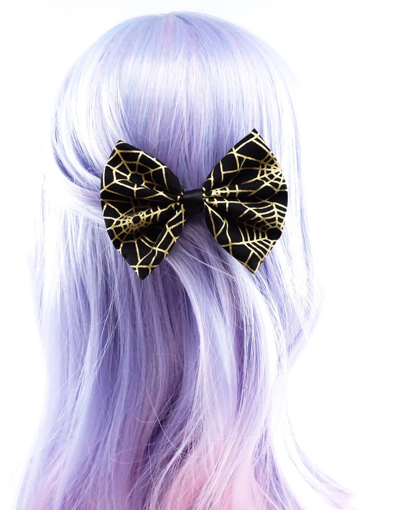 Black with Metallic Gold Spider Web Print Medium Fabric Hair Bow - Halloween