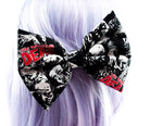 Zombie Walking Dead Print Back and White LARGE Fabric Hair Bow