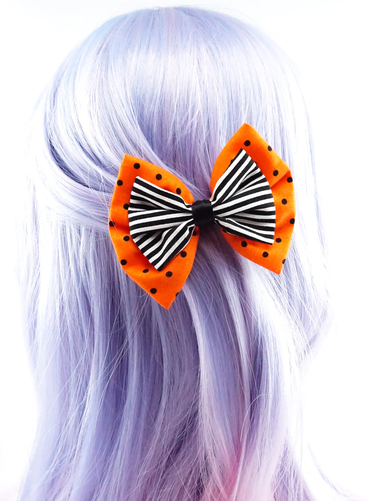 Double Bow Orange Dot & Black & White Stripe Med Fabric Hair Bow - Halloween Bow
