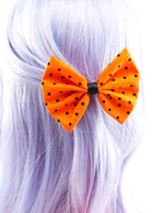 Orange with Small Black Dot Print Medium Fabric Hair Bow - Halloween Bow