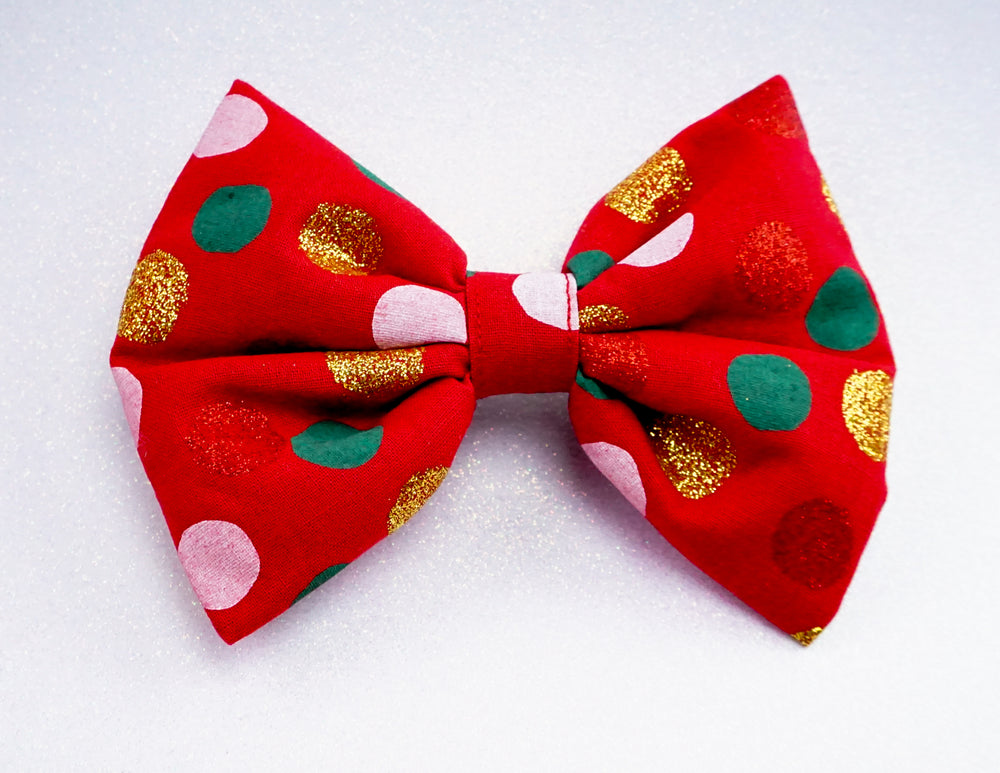 Christmas Polka Dot Red Large Fabric Hair Bow with Gold Glitter
