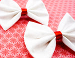 White with Silver Glitter and Red Centre Medium Fabric Hair Bow - Sparkly Christmas Hair Clip