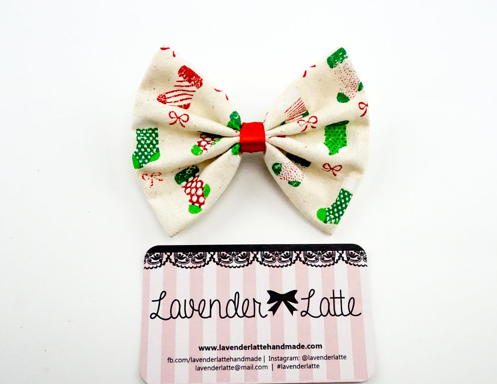 Christmas Stockings and Bows Printed Fabric Medium Hair Bow