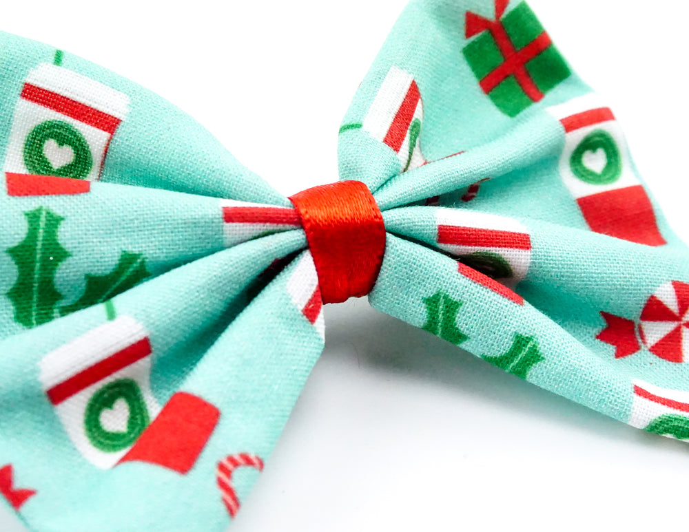 Christmas Coffee with Candy Canes and Holly Print Fabric Medium Hair Bow
