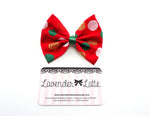 Christmas Polka Dot Red Medium Hair Bow with Gold Glitter