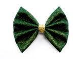 Deep Green with Gold Glitter Medium Fabric Hair Bow - Sparkly Christmas Hair Clip