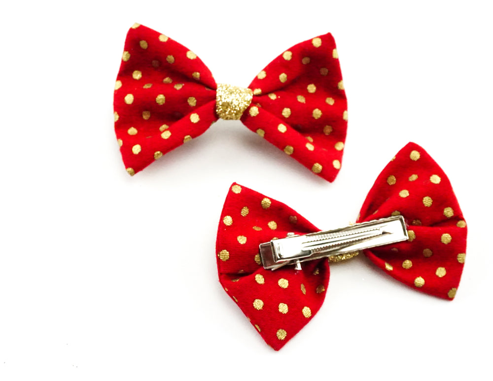 Red with Metallic Gold Polka Dot Print Fabric Small Hair Bow