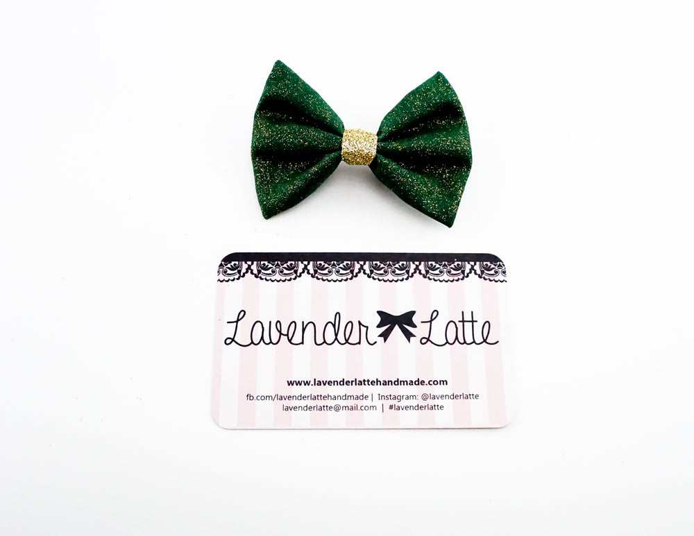 Deep Green with Gold Glitter Small Fabric Hair Bow - Sparkly Christmas Clip