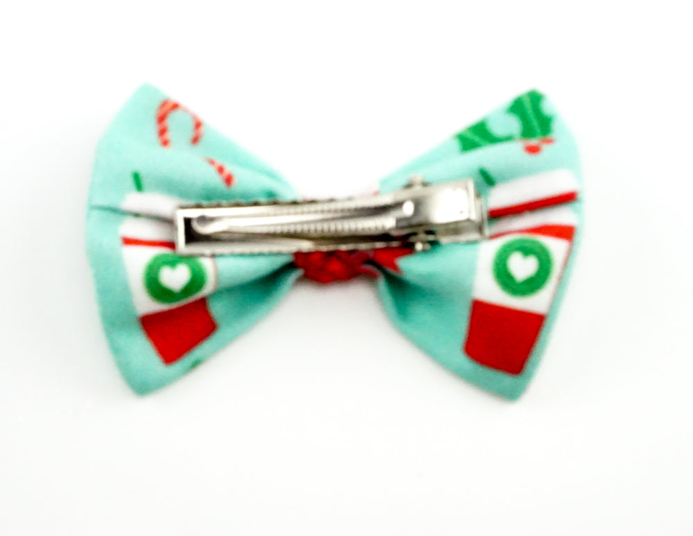 ONE ONLY: Christmas Coffee with Candy Canes and Holly Print Fabric Small Hair Bow