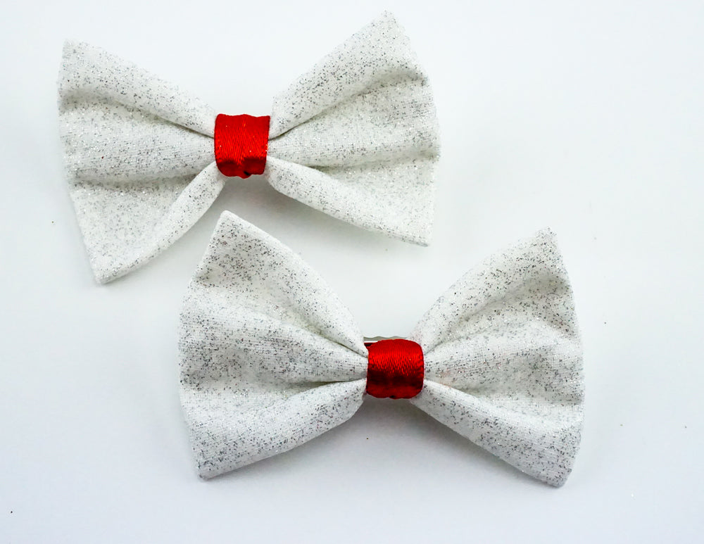 White with Silver Glitter and Red Centre Small Fabric Hair Bow - Sparkly Clip