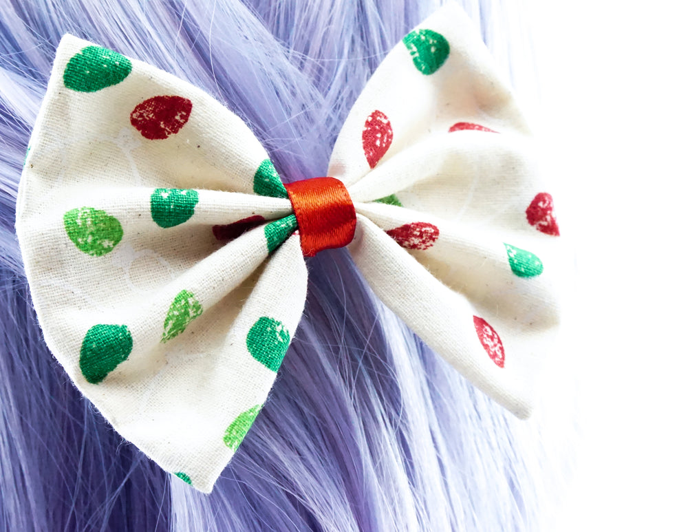 Red & Green Christmas Lights Printed Fabric Medium Hair Bow