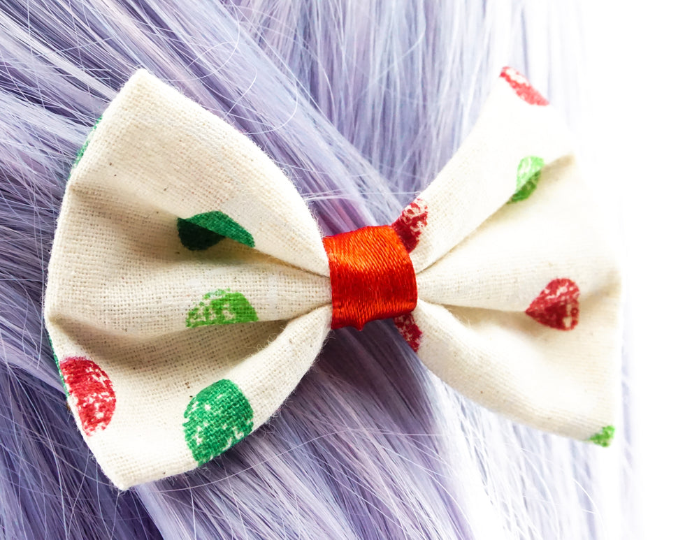 Red & Green Christmas Lights Printed Fabric Small Hair Bow