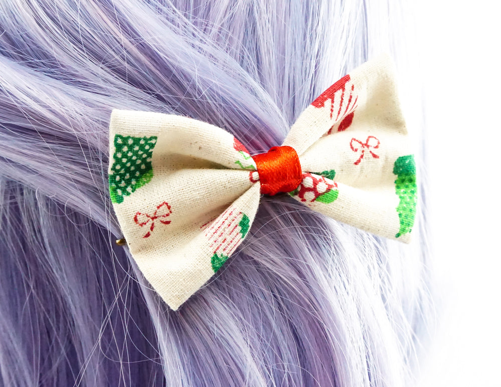 Christmas Stockings and Bows Printed Fabric Small Hair Bow