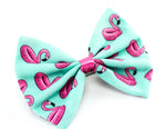 Flamingo Float Pool Party Summer Print Fabric Medium Hair Bow