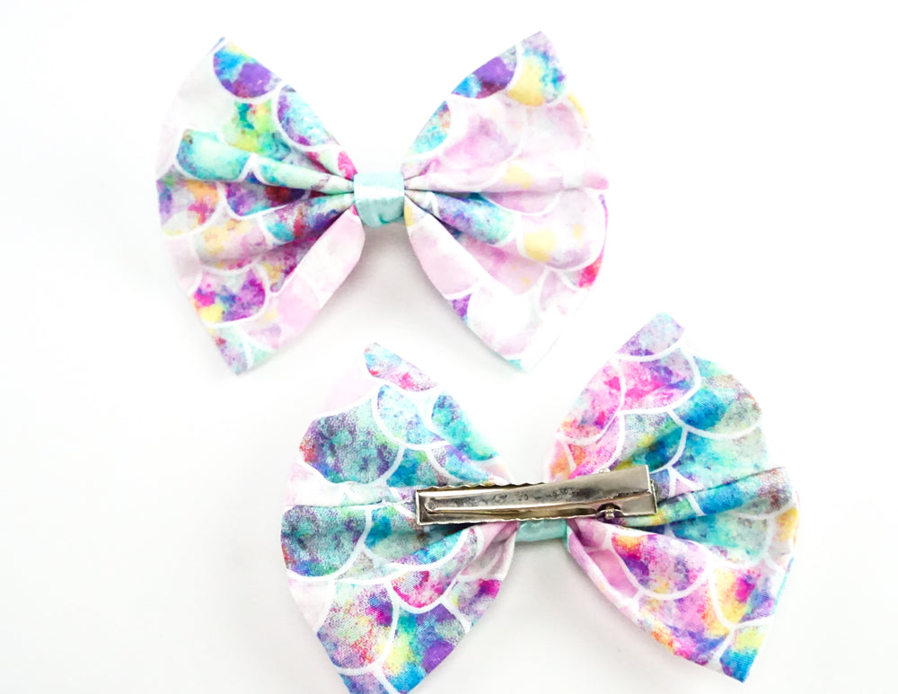 Watercolour Mermaid Scales Fabric Medium Hair Bow