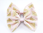 Fairy Bread Pastel Pink Print Fabric Medium Hair Bow