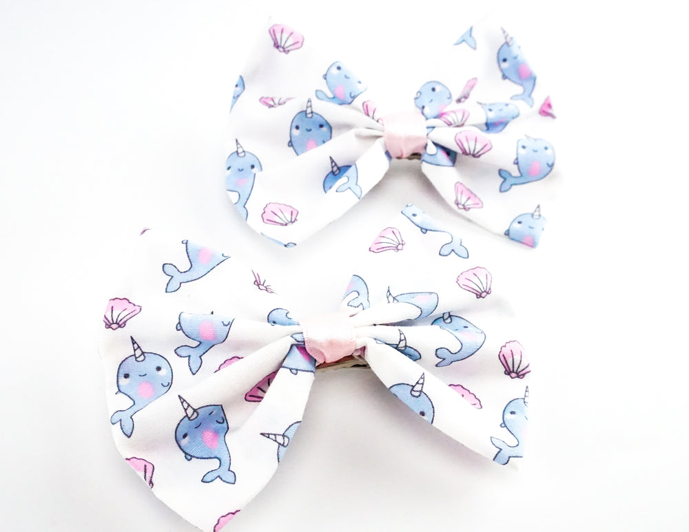 Cute Narwal and Shells Mermaid Print Fabric Medium Hair Bow