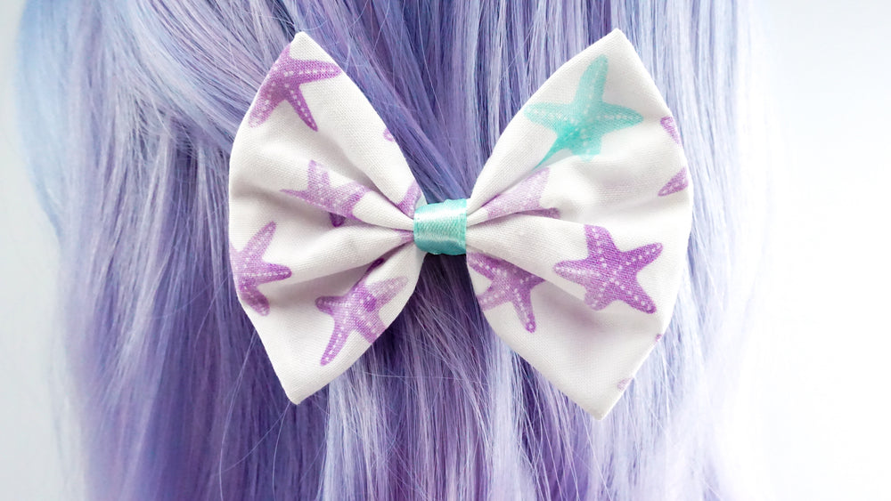 Starfish Mermaid Print Purple & Mint Fabric Medium Hair Bow