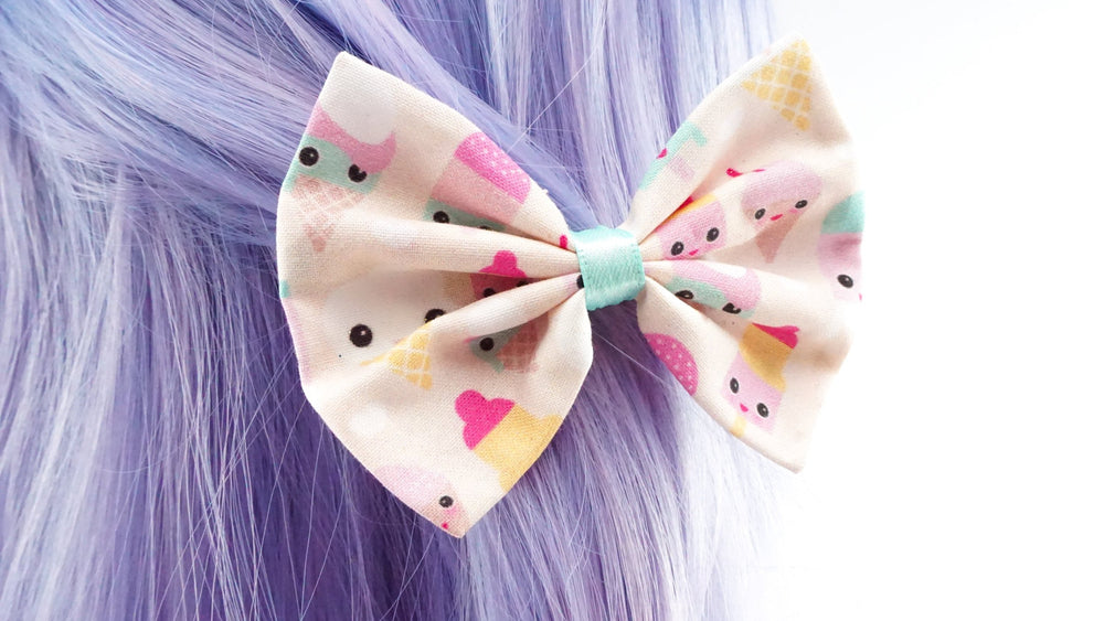 Pastel Kawaii Ice Cream Print Fabric Medium Hair Bow