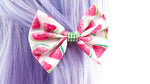 Watermelon Print Medium Fabric Hair Bow with Green Gingham Ribbon