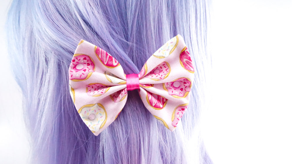 Pink Donuts with Sprinkles Print Fabric Medium Hair Bow