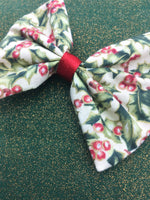 Christmas Holly Print Fabric Medium Hair Bow with Gold Metallic Detail and Red Ribbon