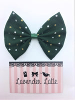 Deep Green with Metallic Silver and Gold Polka Dot Print Fabric Medium Hair Bow