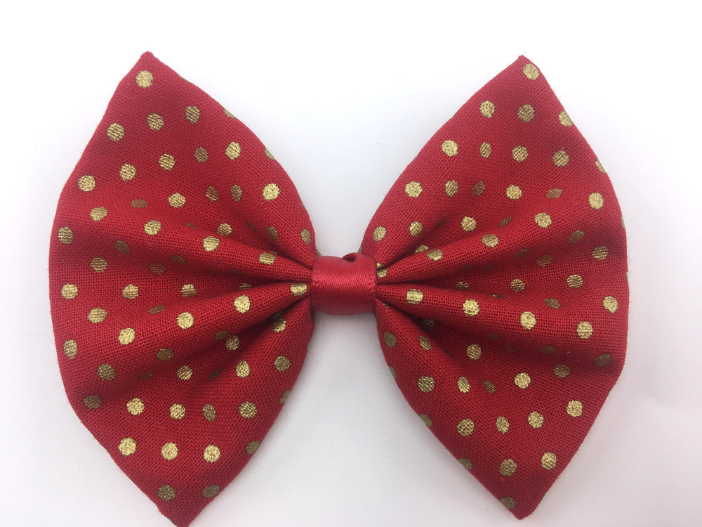 Red with Metallic Gold Polka Dots Print Fabric Medium Hair Bow