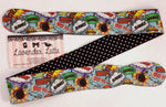 Comic Book Actions Reversible Head Tie Geeky Print with Black and White Halftone Polka Dot Head Wrap
