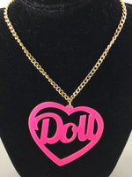 Kawaii Doll Pink Heart Shaped Acrylic Laser Cut Necklace