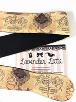 Marauders Map with Black Handmade Reversible Head Tie Harry Potter Inspired Hair Accessory