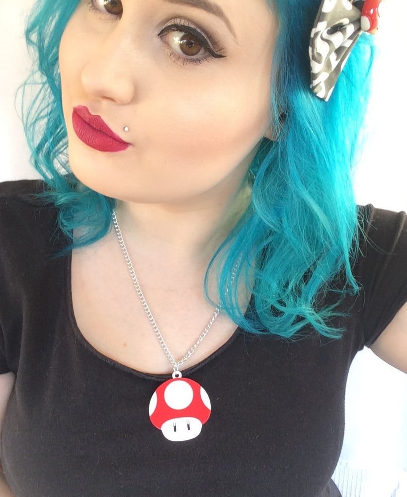 Gamer Mushroom 1UP Acrylic Laser Cut Necklace - Lavender Latte Life - Geeky Jewellery
