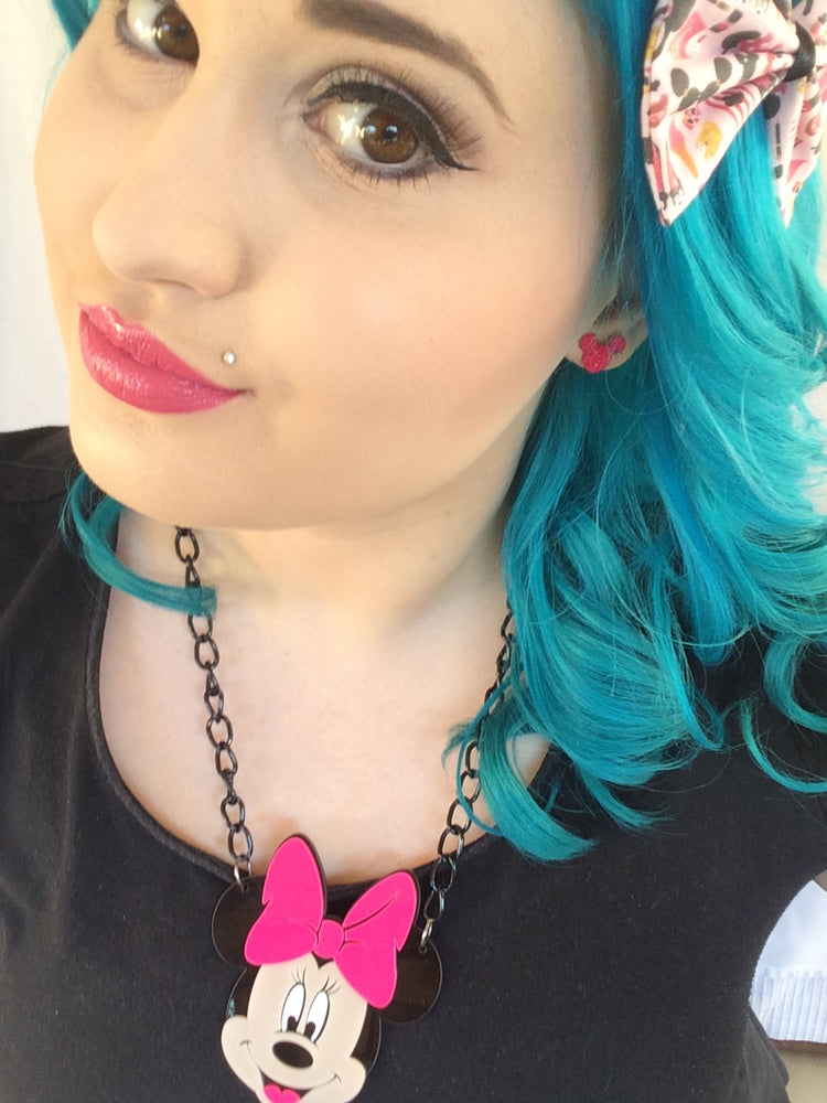 Kawaii Pink Minnie Mouse Acrylic Laser Cut Necklace