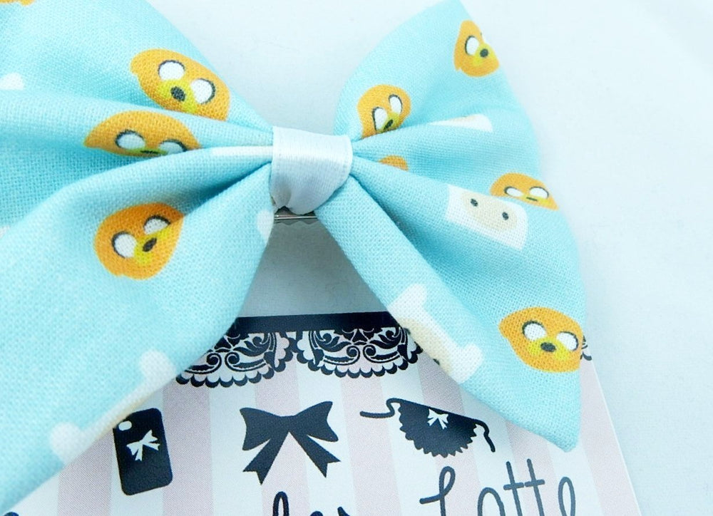 CLEARANCE! Jake and Finn Blue Fabric Medium Hair Bow