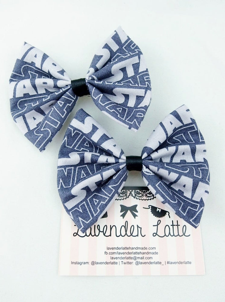Grey Star Wars Fabric Medium Hair Bow