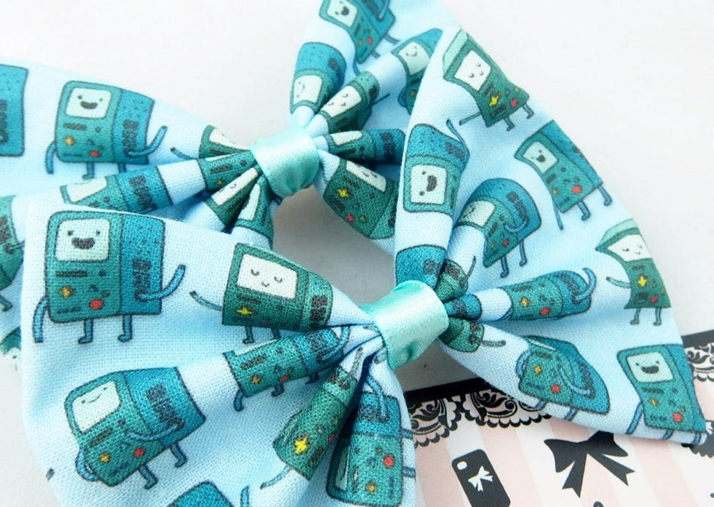 CLEARANCE! Beemo Nerdy Geek Fabric Hair Bow Teal Cartoon Kawaii Hair Clip