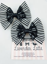 Black and White Stripe Fabric Medium Bow with Black Lace Overlay