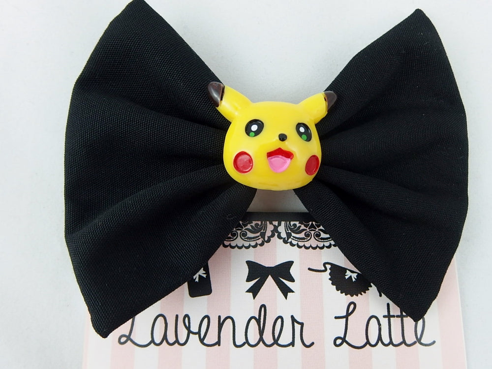 Pikachu Head on Black Fabric Medium Hair Bow