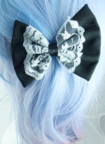 Black Hair Bow Clip with Delicate White Lace Centre Overlay and Black Satin Ribbon