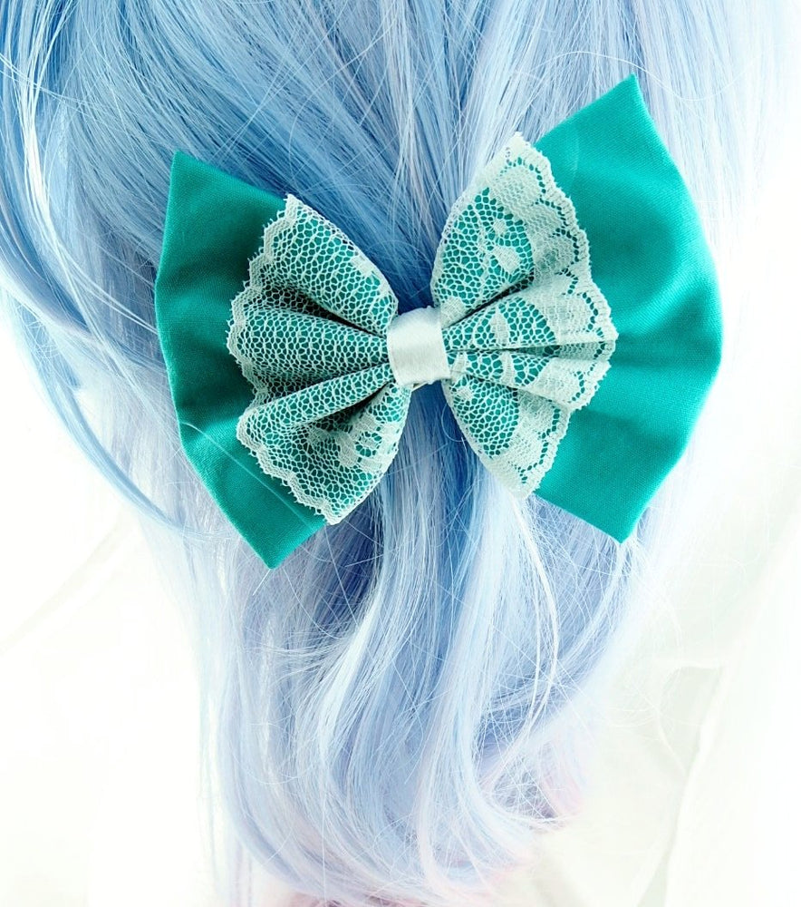 Teal Hair Bow with White Lace Center Overlay Hair Clip
